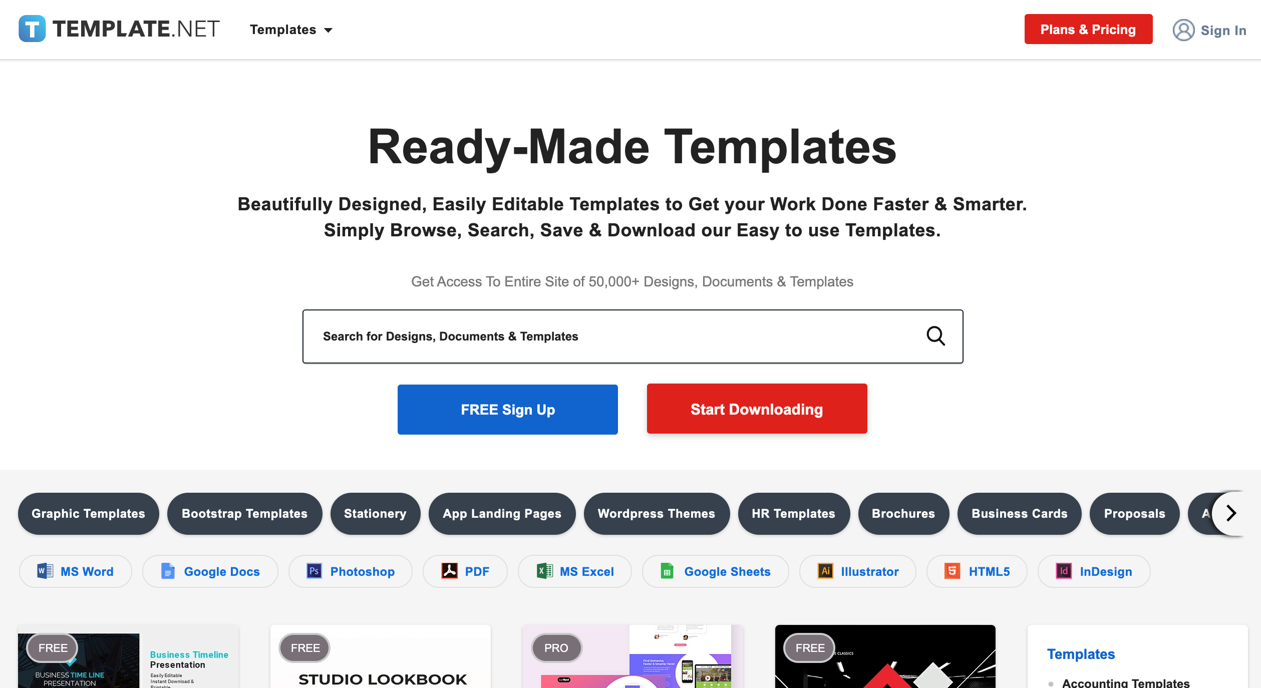 Template.net homepage image