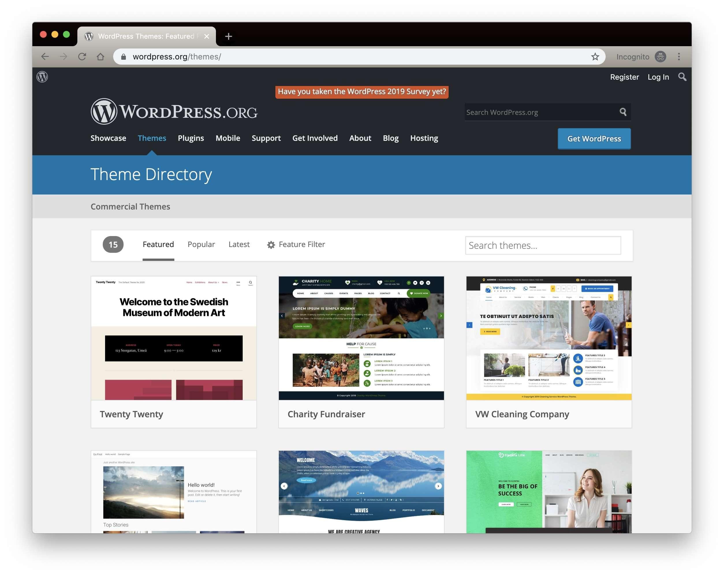 WordPress.org Theme Search
