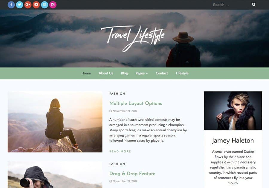 Travel Lifestyle Blog Wordpress Theme