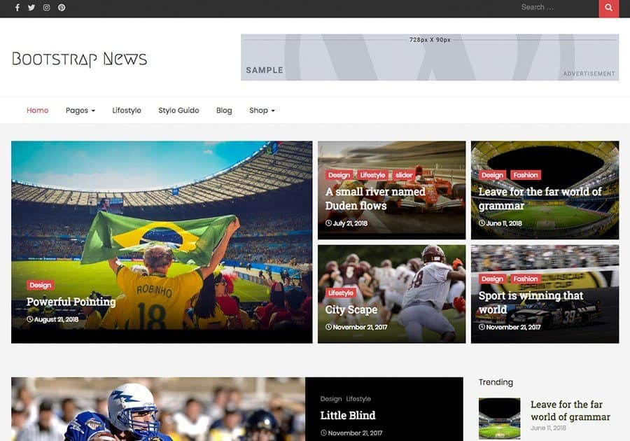 bootstrap news WordPress theme