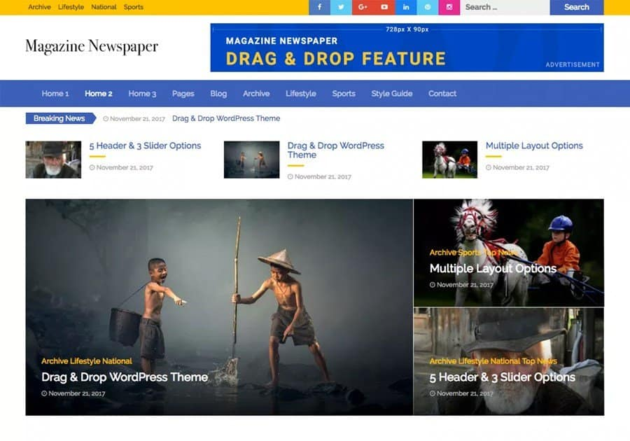 Magazine Newspaper pro WordPress Theme