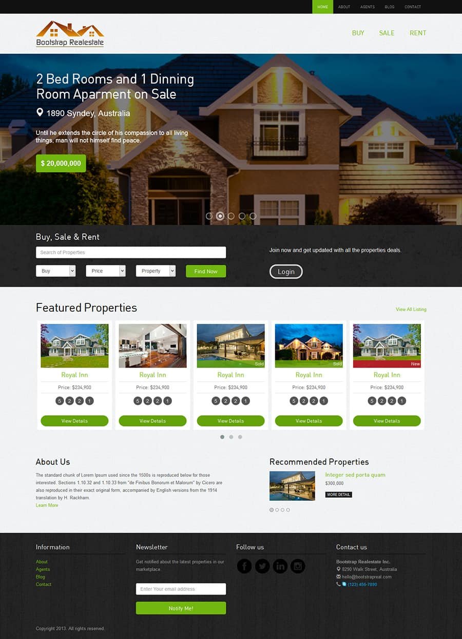 Free Real Estate Template. 80 best real estate website templates ...